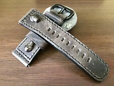Real Leather Watch Strap w/ Metal Skull For SevenFriday Watch - 28mm/24mm
