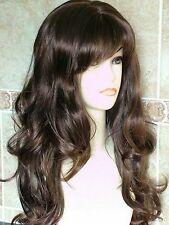 Forever Young Womens Extra Long Wavy Wig! Dark Brown Auburn Mix Full Wig