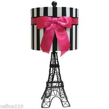 ROYAL PARIS EIFFEL TOWER MOULIN ROUGE HOT PINK RIBBON TABLE ACCENT LAMP