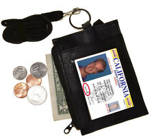 Solid LEATHER ID CARD Badge Holder Neck Zip Pouch Key Ring Wallet with strap New