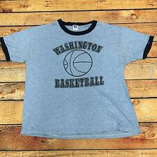 VTG 80s PE Washington Basketball GYM Tri Blend XL RAYON Ringer T Shirt Made USA