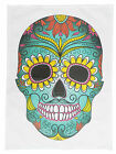 Day of the Dead Large Coloured Skull Cotton Tea Towel