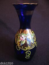 """VINTAGE HAND-PAINTED NAPLES GLASS 6"""" POSY VASE COBALT BLUE/GILT  c.50's EX"""