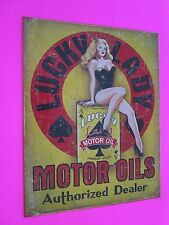 tin metal decor gas oil dealer garage repair shop advertising petroleum lady luc