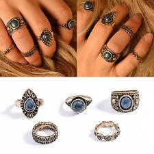 New 5Pc/Set Vintage Silver Knuckle Nature Blue Turquoise Stone Midi Ring Jewelry