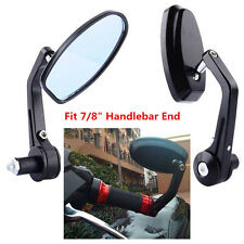 "Hot Black Motorcycle Moto 7/8"" Handle Bar End Rearview Side Mirrors High Quality"