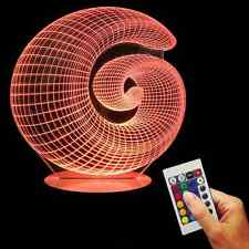 3D USB Snail Shell Optical Illusion Color Changing Light With Retome Controller