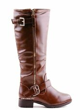Women Tall Knee High Riding Equestrian Faux Leather Buckle Fashion Boots Cowboy
