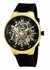 Kenneth Cole NY KC8108 Gold Tone Stainless Steel Skeleton Watch Black Silicon