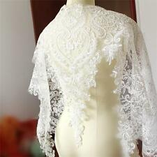 Vintage Bridal Lace Edging Sequin Beaded Ivory  Embroidery Lace Trimming 1 Yard