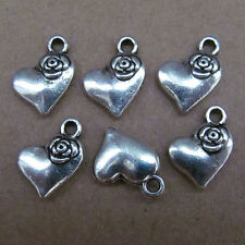 100pc Charms Love Heart Rose Flower Accessories Findings Tibetan Silver SA035