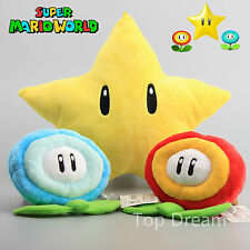 Nintendo Super Mario Bros. Star with Ice Fire Flower Plush Soft Toy Cushion Doll