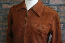 VTG 50s BROWN SUEDE LEATHER LONG CAR JACKET SPORT COAT MOTORCYCLE SHORT 42