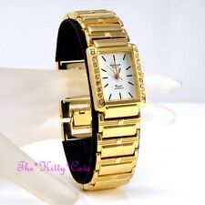 Omax Ladies Gold Pltd Seiko Movement Statement Watch w Swarovski Crystals JHS396