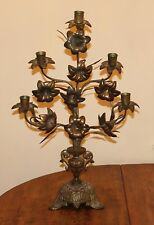 Beautiful antique French Church Altar floral candelabrum 21 inches Gothic Bronze