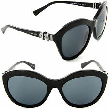 Coach HC 8184 5002/87 Cat Eye Sunglasses Black/Grey Gradient Peach Lens