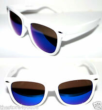 Wayfarer Large Frame Nerd Sunglasses White Frame dark Blue Mirror Lens 63mm