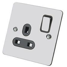 Single Switch DP Wall Plug Socket 1 Gang Black Insert Polished Chrome Flat 13Amp