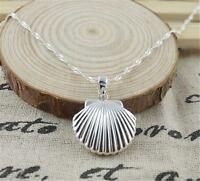 Hot Sale Silver Shell Locket Pendant Water Wave Chain Necklace
