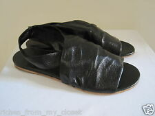$273 ROBERTO DEL CARLO Black Leather Sandals Shoes 40/10, New w/o Box