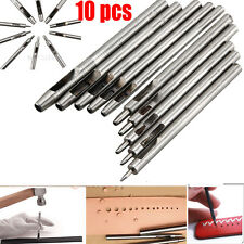 10pcs Hollow Punch Set Make Holes in Leather Rubber Canvas DIY Craft Hand Tools