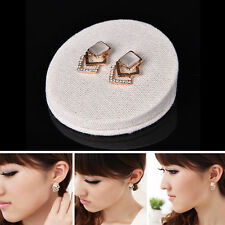 New Fashion Ear Stud Hollow Crystal Jewelry Gold Plated Earrings 1 Pair Women WK
