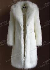 Womens Super Long Faux Fur Coat Sexy LadyTrench Full Length Coat Jacket Overcoat