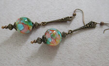 VINTAGE STYLE DANGLE DROP EARRINGS  Art Deco Boho Ink Effect