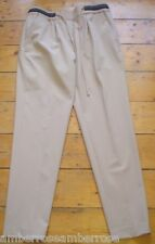 LADIES ZARA BEIGE BLACK FAUX LEATHER DRAWSTRING TAPERED LOOSE FIT TROUSERS S NEW