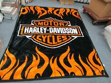 Harley Davidson Queen Size Double Side Plush Reversible Blanket 85 x69 huge new