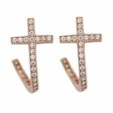 Trendy Cross Earrings Kylie Nicki Silver Plated Rose Gold jacket Earring kim