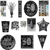 50th Black Glitz Birhtday Party Supplies Decorations Tableware 18 items Free P+P