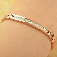 "7.67"" 14K Rose Gold Plated Womens Mens Vintage Lucky Swarovski Crystal Bracelet"