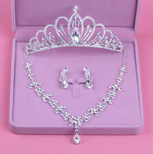 Luxury Wedding Crystal Silver Tiara Crown+Necklace+Earring Set Bridal Accessory