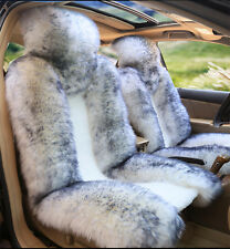 White with Gray Tip Top  Australian Sheep Skin Car Long Wool Front Seat Cover