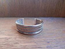 NICE VINTAGE NAVAJO TAHE Sterling Silver 12k Gold Filled Trim Cuff Bracelet