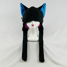 PAWSTAR Dog Fox CANINE wolf Hat ski Anime goth FLEECE ear flap emo Black Blue
