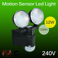 1200LUMENS LED BLACK TWIN FLOOD LIGHT OUTDOOR EXTERIOR SECURITY MOTION SENSOR