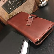 Genuine Real Italian Leather Brown Case High End Designer Folio Book iPhone 7