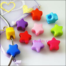 30Pcs Mixed Plastic Acrylic Star Spacer Beads fit European Charms Bracelets 14mm