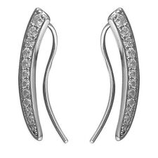 Sterling Silver 925 Statement Crystal Ear Climber Crawler Cuff Earrings