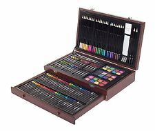 Set 143 Color Pencil Pastel Charcoal Sketching Drawing Painting Artist Wood Case