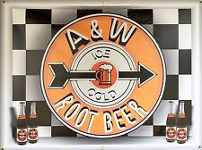 A & W ROOT BEER SIGN NEON STYLE PRINTED BANNER LARGE SHADOWBOX ART 4' X 3'