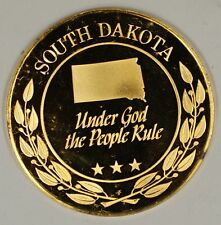 "Gold Plated Sterling Silver Proof Medal South Dakota ""Under God The People Rule"""
