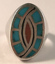 Lovely! Native American Ring Sterling Silver, Turquoise, and Coral Size 10.5