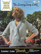 ~ Knitting Pattern For Lady's Lacy Tie-Neck Mohair Sweater To Knit ~