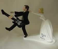 Wedding Reception Party Bride Groom Cake Topper Band Music Guitar Rock n Roll