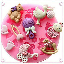 Baby Shower Silicone Fondant Cake Mould Mold Chocolate Baking Sugarcraft Decor U