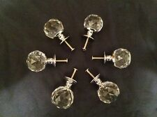 Large Rounded Clear Crystal Glass Drawer Pulls Knobs (Set of Six) 0170S-1130C