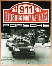 PORSCHE OFFICIAL 996 911 40th ANNIVERSARY DEALER SHOWROOM POSTER 2003 - 2004